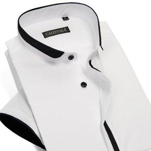 Collar con banda de los hombres con Negro Tubería Camisas de algodón de bolsillo menos Diseño ocasional del verano de manga corta delgada estándar de ajuste remata la camisa