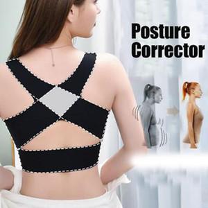 LL Health Care mujeres ajustable elástico atrás del hombro ayuda del apoyo de la correa del pecho corrector de la postura sujetador inconsútil de la talladora del cuerpo del corsé