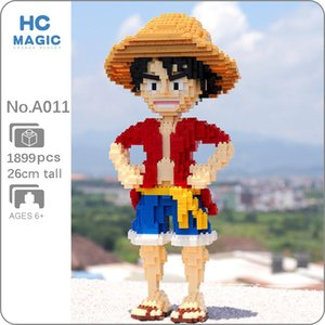 HC A011 Anime One Piece Monkey D Luffy Pirate Hero 3D Model DIY Mini Diamond Blocks Bricks Building Toy for Children no Box