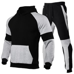 ZOGAA Men's Hoodies Suit Contrast Stitching Sports Suit Blank Solid Color Pullover Logo Customization