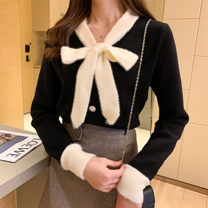 2021 New autumn elegant female cardigan bow chic vintage single-breasted sweater ladies from y505 MK4I
