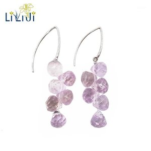 Lii Ji Natural Amathyst 7mm Forma de lágrima Facetada Beads 925 Sterling Silver Drop Pendientes largos1