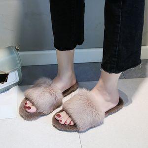 2020 New Fur Women Slippers Shoes New Rabbit Fur Slippers Home Slides Ladies Furry Indoor Flip Flops Fluffy Women Shoes MTX80 F1224