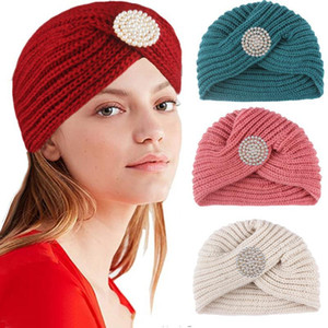 Pearls Knitted Turban Women Autumn Winter Knot Bandana Turban Foldable Bonnet Hat Solid Color Headwrap Headscarf