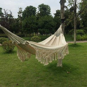 2 Person Hammock Boho Large Brazilian Macrame Fringe Double Deluxe Hammock Swing Net Chair for Out Indoor Patio Porch Decor