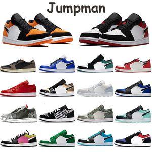 2020 Mens Basketball Shoes Low Jumpman 1s Sneakers Paris Grey Black Sail Unc Travis Scotts Triple White Black Slip Chicago Royal Toe