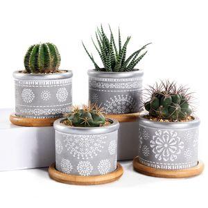 4in Set 2.95 Zement Zement sukkulente Pflanzertöpfe, Kaktuspflanztopf Indoor kleine Betonkräuter-Fensterkastenbehälter mit Bambus y200723