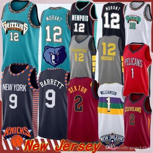 Zion 1 Williamson Jersey 12 Ja Morant 9 RJ Barrett Jersey University 2 Sexton 10 Garland NCAA 2020 MEN Basketball Jerseys