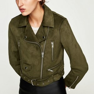 New Fashion Autumn Winter Women Soft Suede Faux Leather Jackets and Coats Lady Matte Cute Zippers Belt Dark Green Outerwear 201009