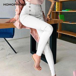 Homophonie Frauen arbeiten Büro-Damen elastische Taillen-Bleistift-Plus Size Hosen Herbst Jogginghose Taschen Feste Hosen