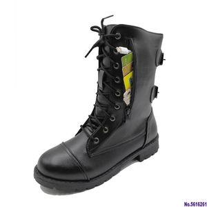 Женщины Boots Zip Пряжка Combat Boots Карман пинетки Узелок черные туфли Женщина Мотоцикл Плюс Размер