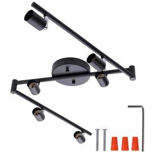 4/6 teste Black / Argento Lampadari LED Light Morden Industrial Sylle GU10 Base per soggiorno Camera da letto