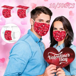 fashion disposable adult heart-shaped printed mask Valentine's Day series men's and women's three-layer protective mask KZ15