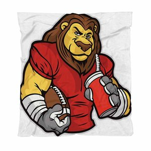 Couverture Super Soft Throw Couvertures Lion Mascot Football In Cartoon style Canapé / Chaise / Love Seat / Voiture Couverture Camping