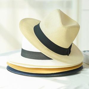 HT2261 2020 Erkekler Kadınlar Straw Panama Şapkalar New Yaz Şapka Band Unisex Fedora Güneş Hat ile Katı Düz Geniş Brim Plaj
