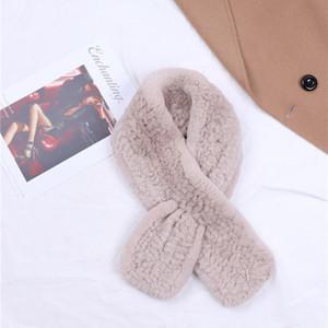 Suppevsttdio Новый роскошный зимы женщин шарф из натуральной шерсти кролика Rex шарфы Вязаные Девушки Платки Обертывания Neckchief M8FF