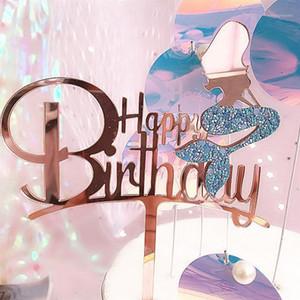 1 قطع بريق أكريليك كعكة القبعات الطفل الاستحمام سعيد عيد ميلاد سعيد حزب diy أعلى أعلام الديكور مهرجان اللوازم 1 أخرى الإمدادات الاحتفالية