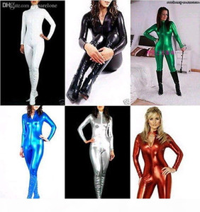 Wholesale-Details about Superior quality!! Metallic Lycra Zentai Spandex Catsuit Costume Front Zip