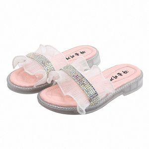 MXHY2020summer nuova ragazza coreana con strass Pantofole moda morbido fiocco sandali inferiori punta aperta e pantofole bambini bambino Slipper Socks Casa Z3xc #