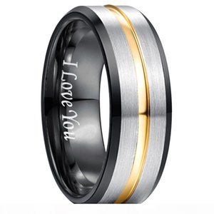 8MM Classic 100% Tungsten Carbide Ring for Men Engrave I love You Wedding Bands Tungsten Rings For Men Women Gift