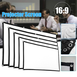 Aibecy Projection Screen 16:9 HD 4K Movie Screen Curtain Foldable Portable Anti-Crease Projector with Stick Hooks1