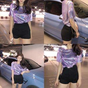 Summer Women Casual Silk O Neck Solid Shiny Loose Short Sleeve T shirt 5 Colors Tops Club Harajuku Tshirt