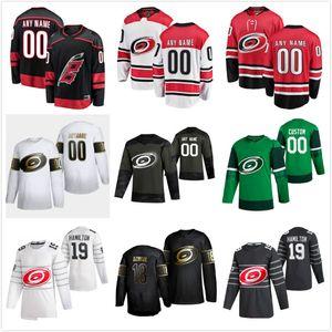 Трикотажные изделия Carolina Hurricanes Jerseys Jake Bean 24 Jersey Jeff Skinner 53 Eric Staal 12 Lucas Wallmark 71 красный белый хоккей для хоккея на заказ