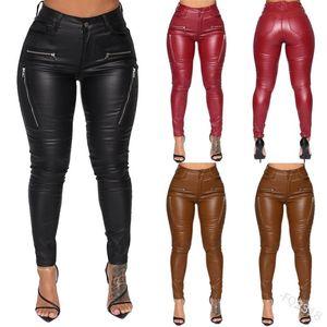 WEPBEL Mulheres Lápis Calças apertadas Calça Casual Zipper Punk Mid cintura PU de couro das mulheres Cinto de calças bolso da calça