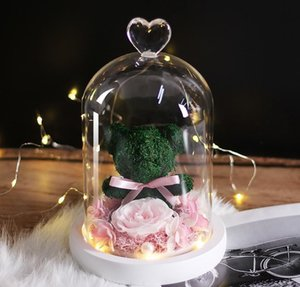 Teddy Bear Rose Flowers In Glass Dome Christmas Festival Diy Cheap Home Wedding Decoration Birthday Valen jllwYs mx_home