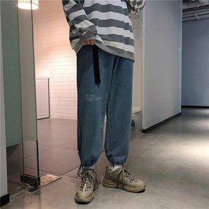 Versátil pie del tobillo de longitud coreana ocasional con estilo de pierna ancha 2020 colgante pantalones sueltos pantalones jeans para hombres colgante es y paquetes Stra Kvvo