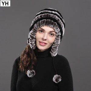 2020 Горячие женщины Real Natural Rex Fur Hat Winter Lady Rex Fur Шапочки Шапочки Теплая вязаная Real Cap