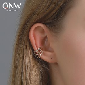 European and American style earrings, personality three-layer diamond ear clips, cold wind chain chain and no pierced earrings spot wholesal