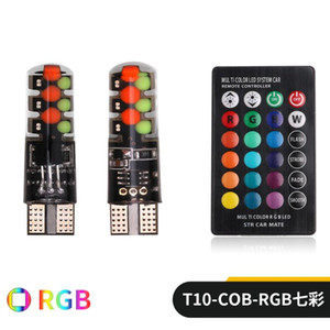 T10 LED COB W5W signal lights Canbus RGB reading wedge lamp strobe light colorful Multi Mode car bulbs with remote controller