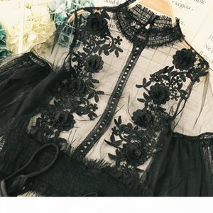 Freeship ladies vintage casual ruffled lantern sleeve stand collar mesh and lace embroidery Blouses with inside top Shirts flare
