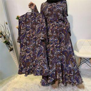 Kaftan Dubai Kids Abaya Turkey Children Long Sleeve Mommy and Daughter Dress Fashion Muslim Islamic Elegant Clothing Vestidos