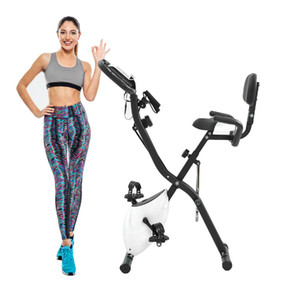 US Stock Exercise Bike with 10-Level Adjustable Resistance Fitness Upright and Recumbent Bike, LCD Monitor, Arm Tension Straps MS192236AAK