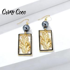 Мотаться серьги CRING Coco Гавайских Геометрической серьги падения женщин Мода Black Pearl Дизайн для женщин Свадебной Летней ювелирных изделий