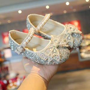 2021 Fashion Peraded Bow Baby Robe PU Chaussures en cuir pour enfants Fête de filles Princess Suskin chaussures pour enfants 1 3 5 6 7 12 ans