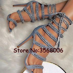0928 Bandaj Dantel-up İnce Heeled Sandalet Açık Burun Stiletto Halat Kesme aşımları Sandal Boots Yaz Kısa Bilek Patik Woman ışıltılı