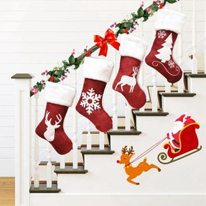 Christmas Stockings Decor Christmas Trees Ornament Party Decorations Santa Elk Christmas Stocking Candy Socks Bags Xmas Gifts Bag CYZ2879