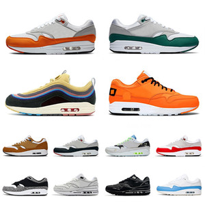 Top Quality New Running Shoes Men Women Magma Orange Evergreen Aura Sport 1 Trainers Sean Wotherspoon Elephant Premium Sneakers 36-45
