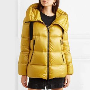 Mujeres chaqueta de invierno moda mujer abajo chaqueta de alta calidad amarillo rosa abajo parqueas abrigos invierno casual al aire libre parkas para mujer abriguementas