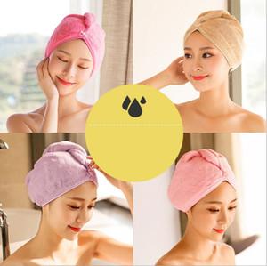 Absorbente Cabello Secado Toallas Mujer Niñas Toalla Cap Coral Fleece Toallas Toallas de Baño Chica Quick Dry Bath Head Wrap Microfiber Towel GWB4445