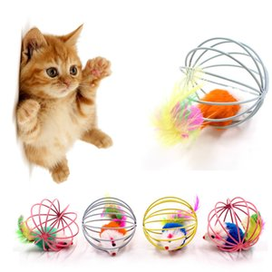 Interactive Cat Toy Pet Rainbow Ball Ball Spring Prison Cage Mouse Filo Stick Bell Feather Gioca Giocattolo Toy Dog Color Pet Forniture