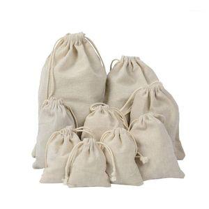 Envoltura de regalo MUCHA TAMAÑO TRABAJE DE CORTÓN Tela de lino de algodón Bolso de tela 50 unids Natural Burlap Bolsas de caramelo Fiesta de bodas Favor de la bolsa Bolsas de yute1