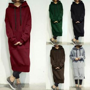 S-5XL beiläufige Frühlings-Herbst-Frauen-lange Pullover Fleece mit Kapuze plus Größen Sweatshirt Kleid Fest Hoodies 6 Farben Aufmaß Tops