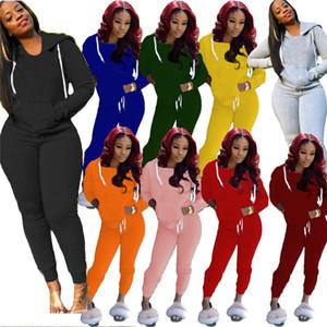 Donne di colore solido Caduta invernale Casual Abbigliamento Casual Plain Jogger Vestito 2 pezzi Set con cappuccio Pantaloni S-2XL Pullover Felpe Autbiti Capris 3968