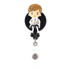 Free shipping Enamel Rhinestone Cute Boy Retractable Badge Reel ID Badge Holder For Gift