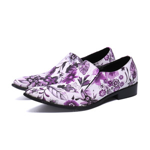 New Fashion Printing Genuine Leather Formal Shoes Simplicity Business Shoes Slip On Men Party Dress Shoes