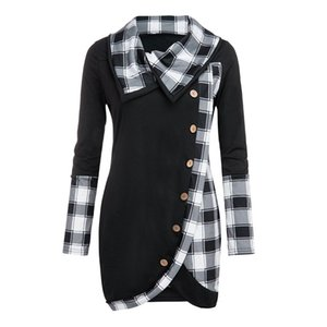 Large Size Women'S Clothing Plaid Shirt Blouse Women Long Sleeve Plaid Turtleneck Tartan Tunic Sweatshirt Pullover Tops Y200827